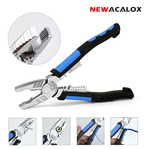 Lineman's Pliers, 7 in 1 Combination Pliers with Wire Stripper/Crimper/Cutter Screw-remover Function, Heavy Duty Side…