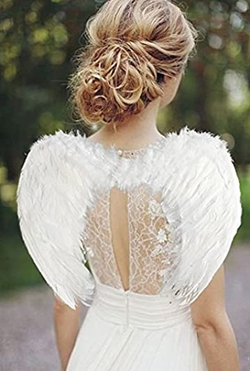 Outstanding Amazon Com White Feather Angel Wings W Elastic Harness Clothing Short Hairstyles For Black Women Fulllsitofus