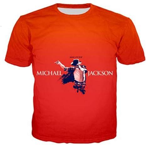 JJZHY Michael Jackson Estampado 3D Pareja Hombres y Mujeres Camiseta Manga Corta patrón Michael Jackson Disfraz: Amazon.es: Deportes y aire libre