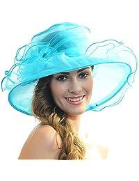 FORBUSITE Women Kentucky Derby Church Wedding Dress Organza Hat SM09-SM019