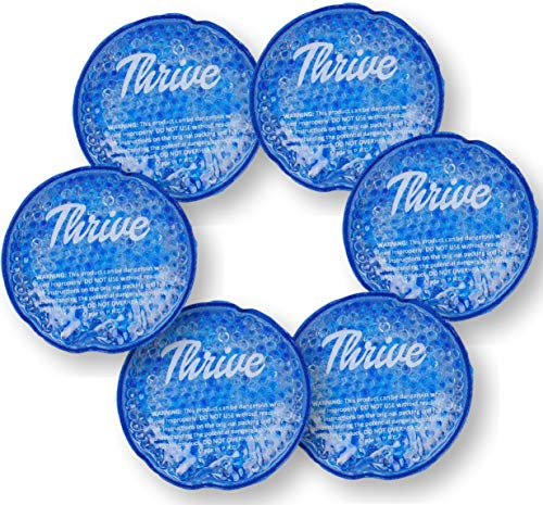 (Round Hot & Cold Packs (6 Pack) - Heat or Ice Therapy - Small Flexible Reusable Gel Beads with Cloth Fabric Backing - Great for: Wisdom Teeth, Breastfeeding, Tired Eyes, Face, Headaches, Sinus Relief)