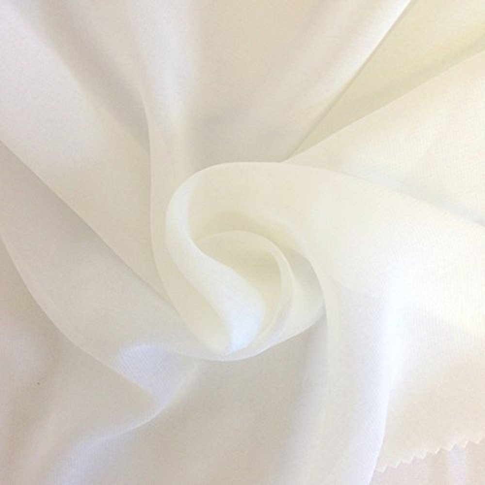 Solid Chiffon Fabric Polyester Dress Sheer 58'' Wide by The Yard All Colors (10 Yard, Off White)