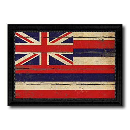 Hawaii State Vintage Flag Collection Western Interior Design Souvenir Gift Ideas Wall Art Home Decor Office Decoration - 23''x33'' by AllChalkboard