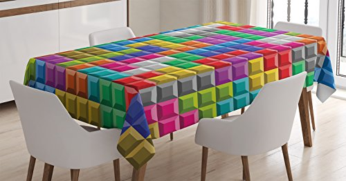 Room Multi Game Tables - Video Games Tablecloth by Ambesonne, Colorful Retro Gaming Computer Brick Blocks Image Puzzle Digital 90's Play, Dining Room Kitchen Rectangular Table Cover, 60 W X 90 L Inches, Multicolor