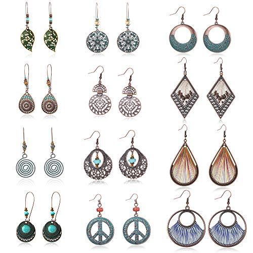 Besteel Bohemian Vintage Dangle EarringsStatement Hollow Boho Drop Turquoise Pendant Hoop Earrings Set for Women from Besteel