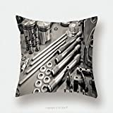 Custom Satin Pillowcase Protector Collection Of Sepia Toned Precision Auto Engine Parts Laid Out In A Workshop 75113650 Pillow Case Covers Decorative
