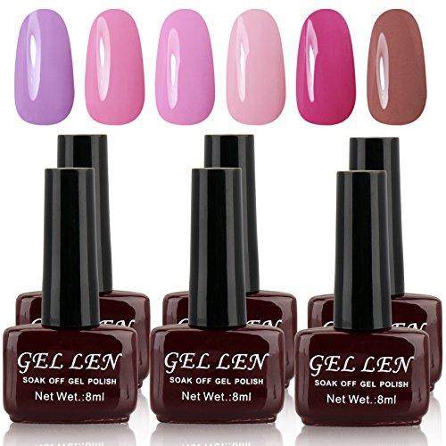 Gellen UV Gel Nail Polish Kit - Nude Pastel Colors, Pack of 6 Colors 2017 New Arrivial Set #TX