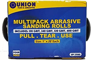 """Abrasive 4 Roll Multi Pack - Cloth Abrasive 1"""" x 20' Rolls Ideal for Wood Turners, Furniture Restoration, Automotive, Home, Workshop and General Use"""