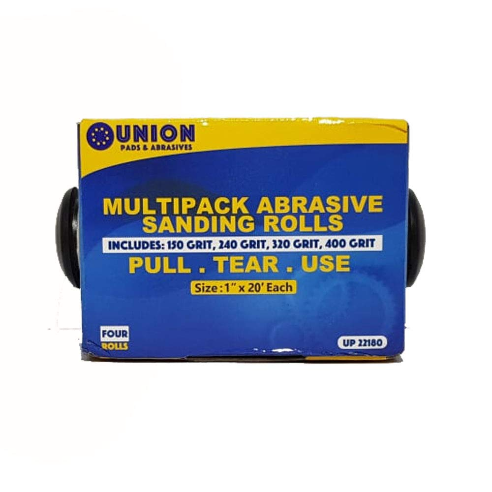Abrasive 4 Roll Multi Pack - Cloth Abrasive 1'' x 20' Rolls Ideal for Wood Turners, Furniture Restoration, Automotive, Home, Workshop and General Use by Union Pads & Abrasives