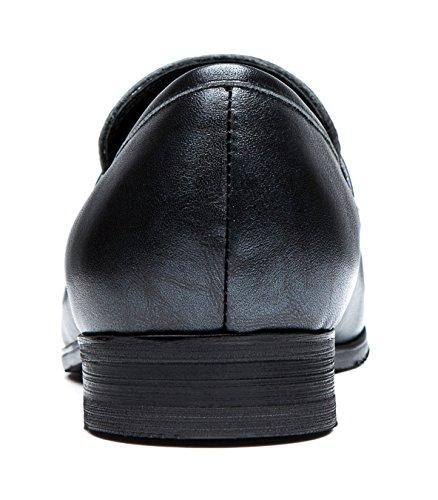Opp Designer Mens Lisse En Cuir Slip Sur Mèche En Métal Détail Talon Bas Mocassins Chaussures Gris Argenté