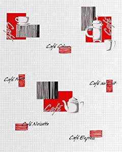 Papel pintado de diseño motivos café bar y mosaico EDEM 062-24 azulejos blanco crema rojo negro plata