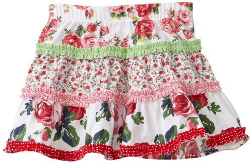 Love U Lots Baby Girls' Floral Tired Skirt With Combo Ruffles