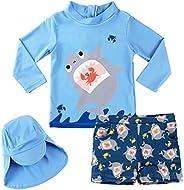 Gogokids Boys Two Piece Rash Guard Swimsuits Kids Long Sleeve Sunsuit Swimwear