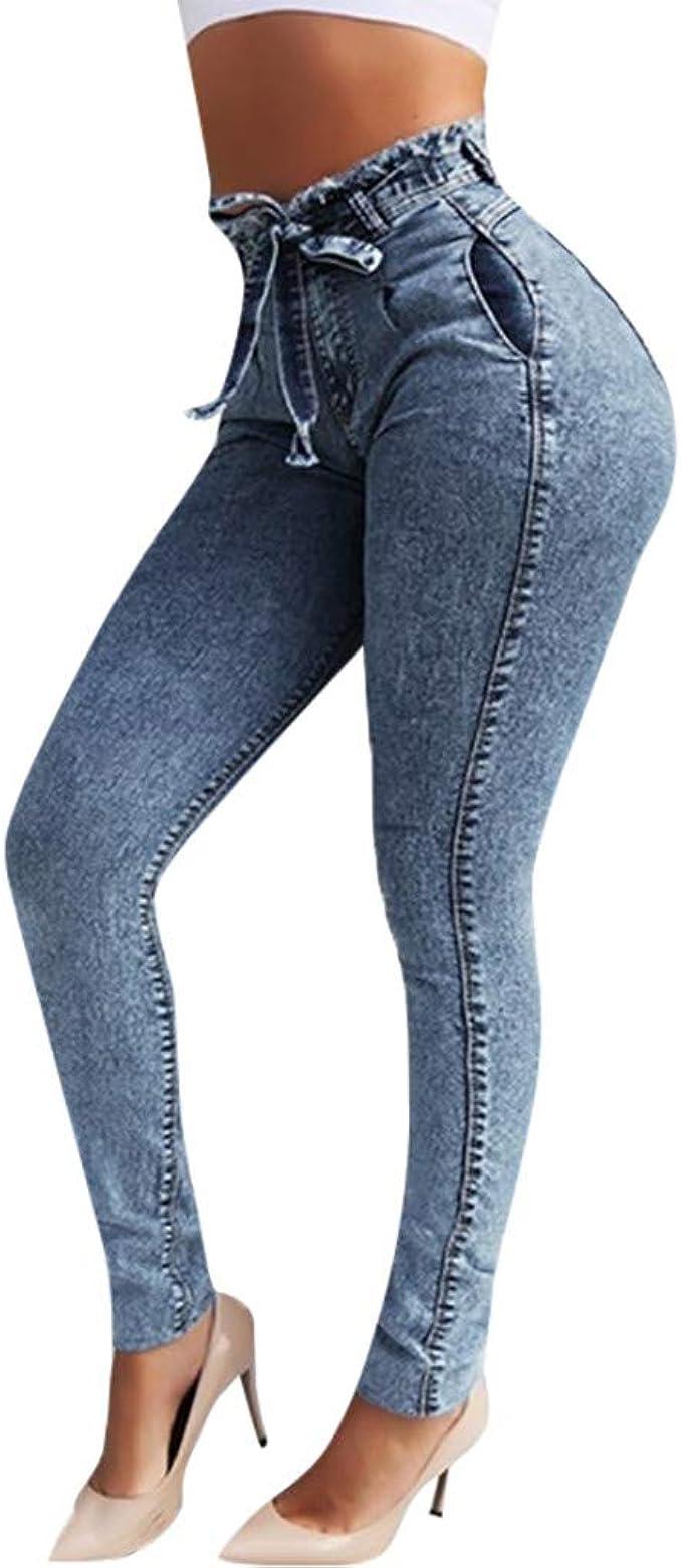 Donne Jeans A Zampa Pantaloni A Vita Alta Elasticizzati Sciolto Taglia Grossa Pantaloni Lunghi