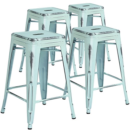 - Flash Furniture 4 Pk. 24'' High Backless Distressed Green-Blue Metal Indoor-Outdoor Counter Height Stool