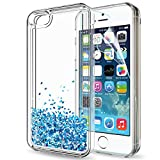 5s cute protective cases - iPhone 5S Case,iPhone 5 Case,iPhone SE Case with HD Screen Protector for Girls Women,LeYi Cute Shiny Glitter Moving Quicksand Liquid Clear TPU Protective Phone Case for iPhone 5S / 5 / SE ZX TS Blue