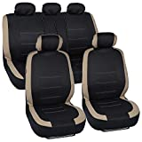 Venice Series Car Seat Covers - Beige Stripes on Flat Black Cloth