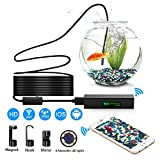 GJT Wireless Endoscope, WiFi Borescope Inspection Camera With 8mm lens ,5M Cable 2.0 Megapixels 1900x1200HD Snake Camera for Android and IOS Smartphone, iPhone, Samsung, Tablet
