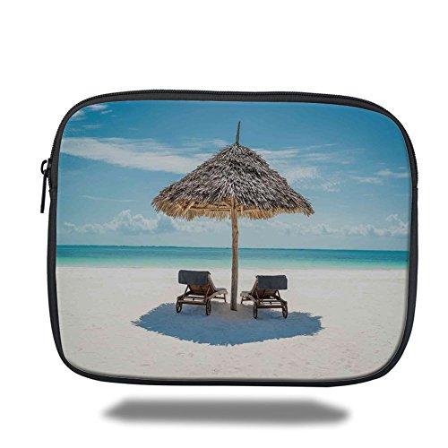 Leather Zanzibar (Laptop Sleeve Case,Seaside,Wooden Sun Loungers Facing Eastern Ocean under a Thatched Umbrella in Zanzibar,Turquoise Cream,iPad Bag)
