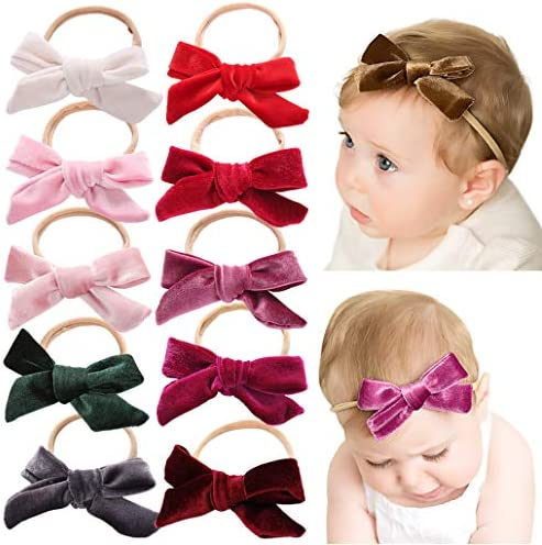 Red Bandanna Bandana Country Elastic Nylon Stretch Knot Tied Bow One Size Headband Little Baby Girl Toddler Bow Bows Infant Hair Accessories