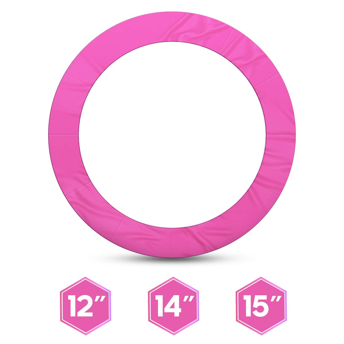 1INCH 12FT Trampoline Pad Pink Jumpking Trampoline Pad Replacement Safety Pad PVC Foam Waterproof Round Spring Cover (Pink, 12 FT)