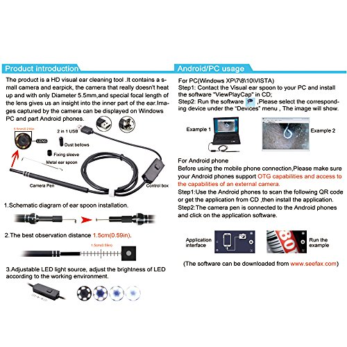 2 in 1 USB Port Ear Nose Camera Endoscope 5.5mm Visual Lens Mini Borescope Earpick Otoscope Endoscope for PC Windows by Generic (Image #2)