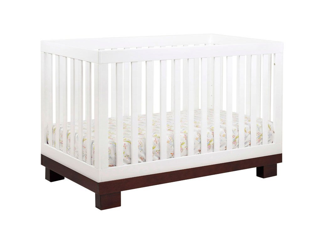 Babyletto Modo 3-in-1 Convertible Crib with Toddler Bed Conversion Kit, Espresso / White