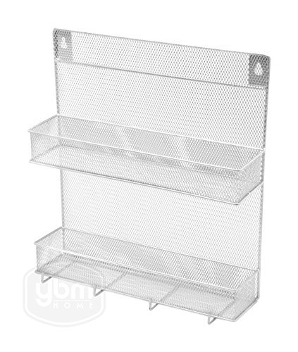 YBM Home Spice Rack 2 Tier With Hooks(W'11.3/4 L'12.3/4 Depth'4 Inch With The Hooks) by Ybmhome