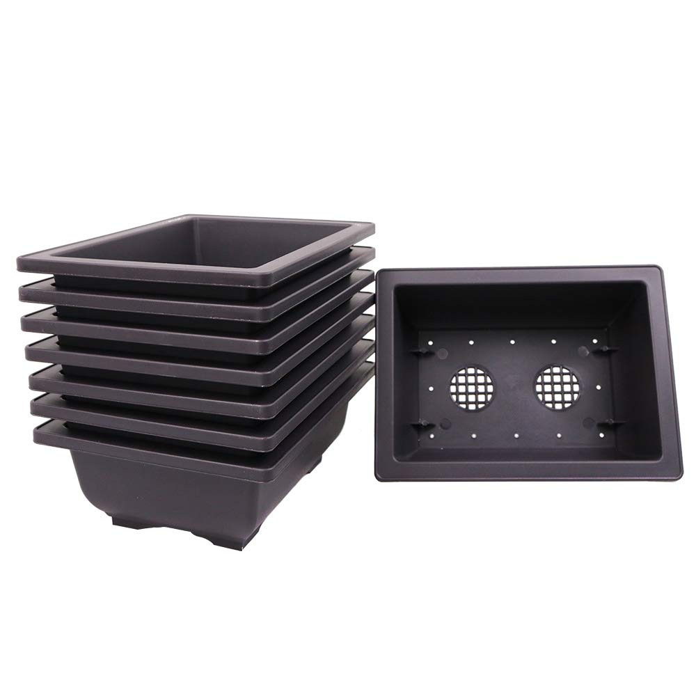 Bonsai Outlet Combo Pack of Professional Grade Plastic Training Pots Three 6 Inch Pots with Humidity Trays /& Three 8 Inch Pots with Humidity Trays