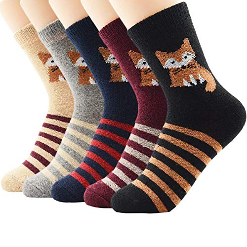 American Trends Women's Winter Thick Warm Casual Crew Socks Cute Animal Vintage Style Wool Knitting Sock (One Size, D 5 Pairs Fox)