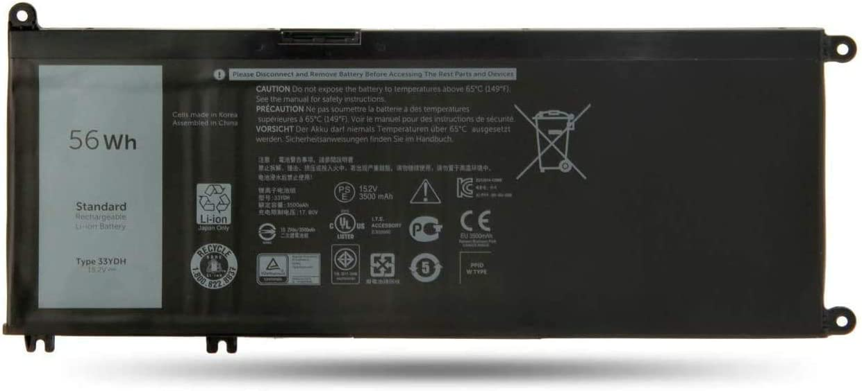 Fully 33YDH Replacement Laptop Battery Compatible with Dell Inspiron 13 7353 17 7000 7773 7778 7779 Series Notebook PVHT1 DNCWSCB6106B - 15.2V 56Wh/3500mAh