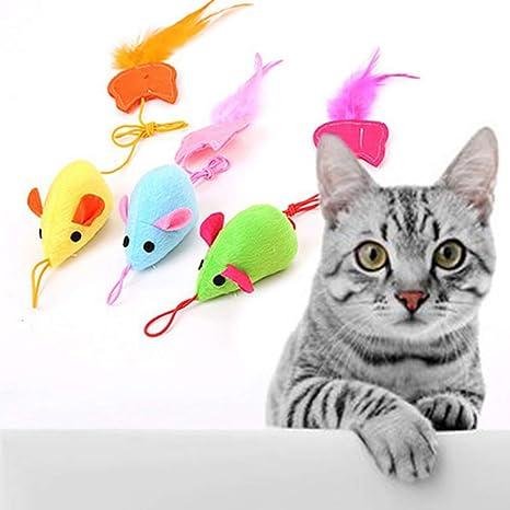 Feli546Bruce Juguete de Plumas de Gato, Colorido Gato de Felpa de ...