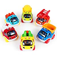 LUKAT Pull Back Cars Toys for 1 2 3 year old Baby Mini Cars Toys Pull Back Vehicles
