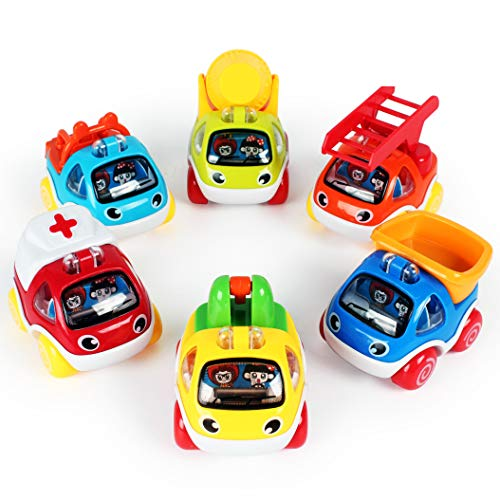 LUKAT Pull Back Cars Toys for 1 2 3 year old Baby Mini Cars Toys Pull Back Vehicles for Tollders Construction Vehicles ()