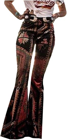 AngelSpace Women Bohemian Style Floral Printed Slim Fitted Lounge Flare Long Pants
