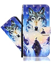 IMEIKONST Compatible with Samsung Galaxy A32 5G 3D Painted Hoesjes, Premium PU Leather Card Holder Wallet with Magnetic Shockproof Stand Flip Cover for Galaxy A32 5G. Sunrise Wolf CYA