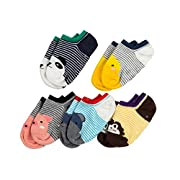 MBLC Kids Socks, Non-Slip Comfortable Cotton Baby Socks Colorful Animal 5 Pack