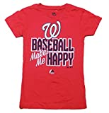 "Washington Nationals Girls Youth Red ""Baseball Makes Me Happy"" T-Shirt"