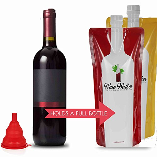 Wine Accessories and Gifts: Reusable Plastic Wine Bag - 2 Bags + Funnel Decanter Gift Set - Portable, Foldable, Unbreakable Wine Bottles & Wine Holder - Carrier, Flask and Carafe for Wines - Goodmanns