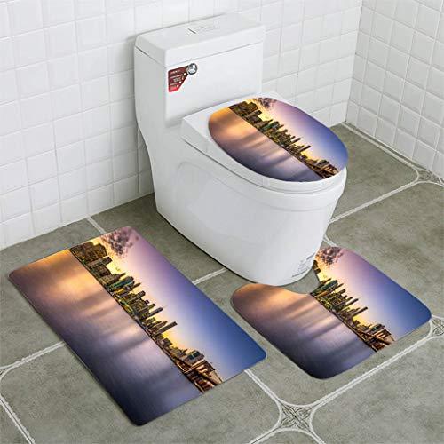 BEISISS Bathroom Mat Sets 4 Piece-Non-Slip - Short Plush Horizontal View Manhattan Downton Blue Hour Brooklyn Bridge Bathroom Rug + Contour pad + lid Toilet seat+Toilet seat Cushion