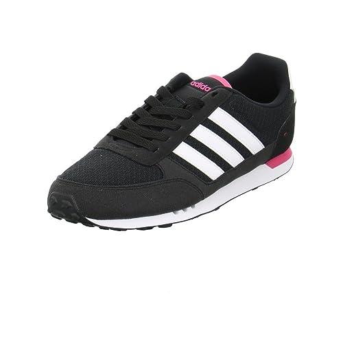 Adidas Racer lite W, Zapatillas de Deporte para Mujer, Negro/Rosa (Negbas/Negbas/Rosimp), 37 1/3 EU
