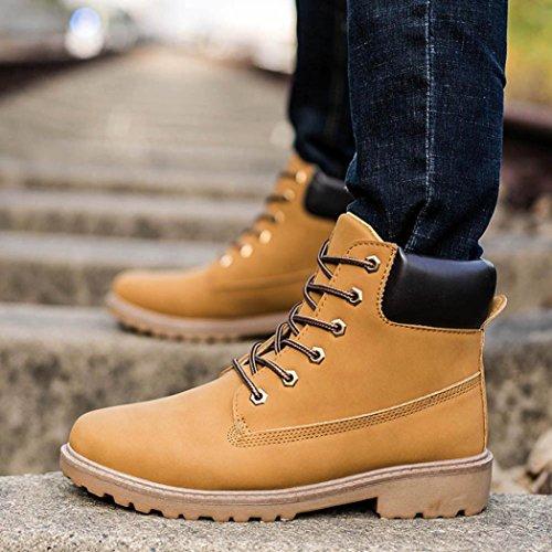 Amiley Hommes Cheville Bottes Anti-dérapant Hiver Chaud Lacets Haut-haut Bottes De Neige Chaussures Jaune