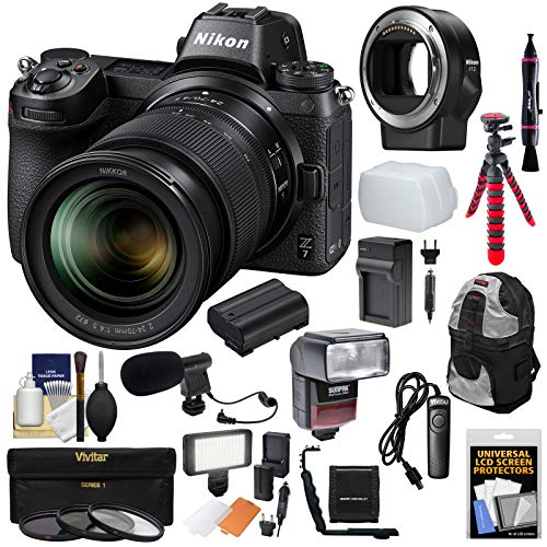 Nikon Z7 Mirrorless Digital Camera & 24-70mm f/4 S Lens with Mount Adapter FTZ + Backpack + Flash/Video Light + Mic + Battery & Charger + Tripod Kit