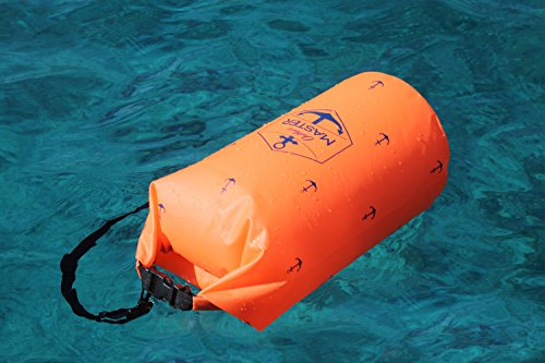 Dry Bag - Floating Waterproof Bag for Boating, Sailing, Kayaking, Stand Up Paddle Boarding, by Outdoors MASTER (Electric Orange, 20L)