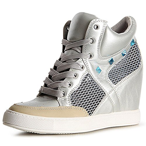 topschuhe24 1118 Damen Sneaker Keilabsatz Stiefeletten Hidden Wedges Silber