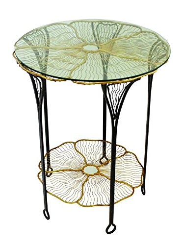 Flower Petal Iron Round Side Table Open Gold Blossom Bloom Accent