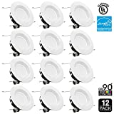 TORCHSTAR #Wet Location# 5/6 inch Dimmable Retrofit LED Recessed Lighting Fixture, 15W (100W Equivalent), High CRI 90+, ENERGY STAR,4000K Cool White, Recessed LED Downlight,5 YEARS WARRANTY,Pack of 12