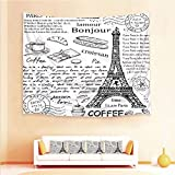 Drum Coffee Table for Sale iPrint 1pcs Hanging Tapestry 4pcs Pillow case,Wall Hanging Blanket Beach Towels Picnic Mat Home Decor,Parisian Elements Bonjour Croissan Coffee Eiffel,3D Printed Tapestry Bedroom Living Room