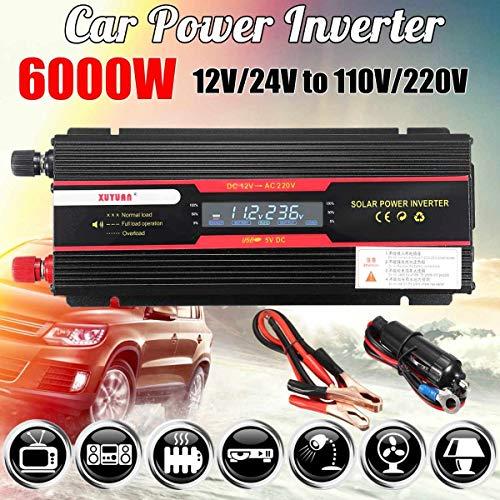 (Kavas - Car Inverter 12V 220V 5000W/6000W P eak Power Inverter Voltage Convertor Transformer 12V/24V To 110V/220V Inversor + LCD Display)