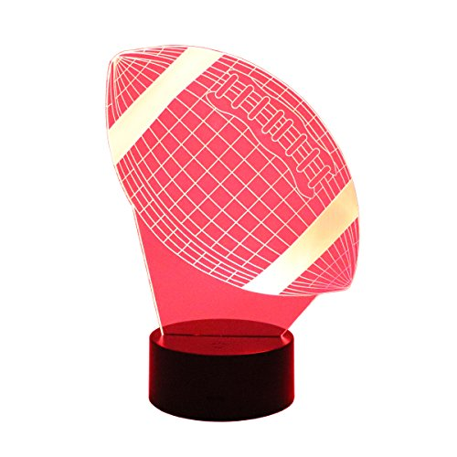 Hguangs 3D Lamp Rugby Football Shape Night Lamp Desk Table Light 7 Colors Changing Touch Control Gift for Christmas Birthday Valentine's Day Kids Children Girl and Boy